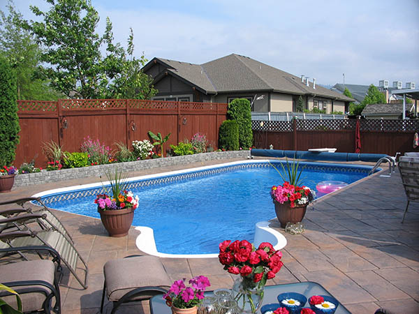 pool with landscaped deck